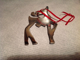 Chromed Brass Reindeer Ornament Red Ribbon Attached for Hanging image 7
