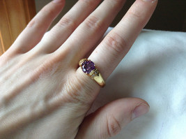 Circular Purple CZ with White CZ Accents Gold Plated Ring Size 10 image 4