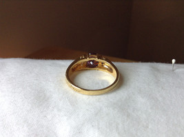 Circular Purple CZ with White CZ Accents Gold Plated Ring Size 10 image 3