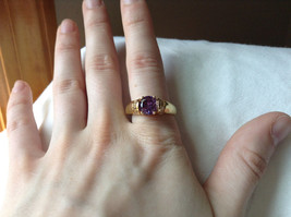 Circular Purple CZ with White CZ Accents Gold Plated Ring Size 10 image 6