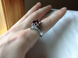Circular Red CZ Stone with Wave Stone Design Stainless Steel Ring Size 7.5 image 5