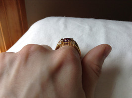 Circular Purple CZ with White CZ Accents Gold Plated Ring Size 10 image 7