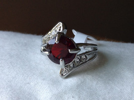 Circular Red CZ Stone with Wave Stone Design Stainless Steel Ring Size 7.5 image 8