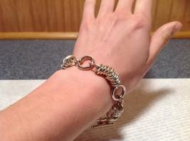 Circular Chain Silver Tone Pull Through Closure Bracelet image 6