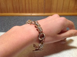 Circular Chain Silver Tone Pull Through Closure Bracelet image 5