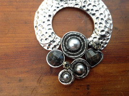 Circular Shaped Scarf Pendant Silver Tone with Gray Stones Beads and Crystals image 2