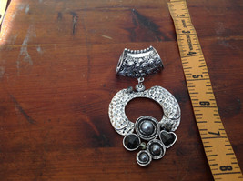 Circular Shaped Scarf Pendant Silver Tone with Gray Stones Beads and Crystals image 4