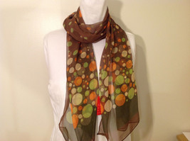 """Circles and Dots"" Summer Sheer Fabric Multicolor Scarf, colors of your choice image 4"