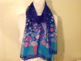 """Circles and Dots"" Summer Sheer Fabric Multicolor Scarf, colors of your choice image 10"