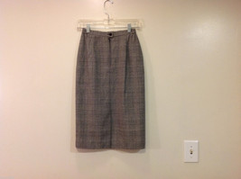 Classic Black White Plaid Fully Lined Below knee Length Pencil Skirt, Size 6 image 2