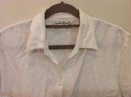 Claudia Richard White Embroidery Floral Pattern Short sleeve Blouse Shirt image 2