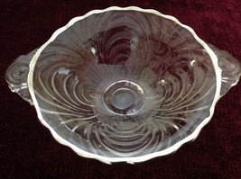 Clear Colored Glass Serving Bowl Ridges and Floral Designs on Sides image 3