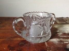 Clear Copper Wheel Glass Two  Handled sugar bowl w flower Pattern Crystal image 4
