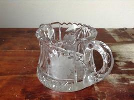 Clear Copper Wheel Glass Two  Handled sugar bowl w flower Pattern Crystal image 3