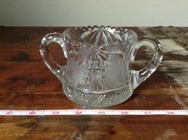 Clear Copper Wheel Glass Two  Handled sugar bowl w flower Pattern Crystal image 5