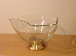 Clear Glass Dish Vase with Gold Tone Metal Stand Bottom image 2