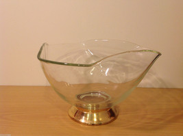 Clear Glass Dish Vase with Gold Tone Metal Stand Bottom image 3