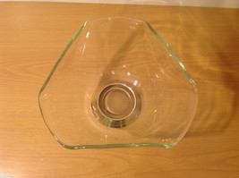 Clear Glass Dish Vase with Gold Tone Metal Stand Bottom image 4