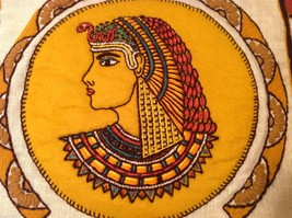 Cleopatra Vintage Hand Embroidered Face Side Pillow Cover Linen image 2