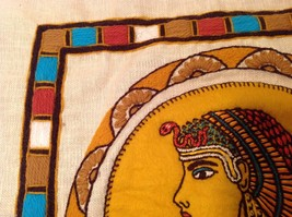 Cleopatra Vintage Hand Embroidered Face Side Pillow Cover Linen image 3