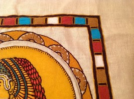 Cleopatra Vintage Hand Embroidered Face Side Pillow Cover Linen image 6