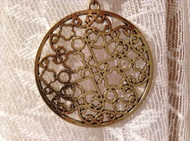 Circular Gold Tone Scarf Pendant with Flowery Design Looks like Polished Stone image 5