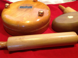 Collection lot of maple wood bowls rolling pins from estate made in USA image 4