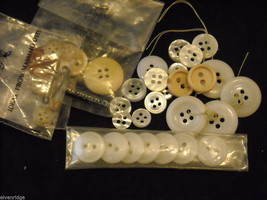 Collection of vintage buttons in whites and yellows large image 2