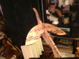 Collection of small and large cream tan and musical score paper bird ornaments image 2