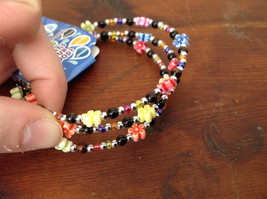 Colorful Flowers Beaded Mood Jewelry Bracelet Wire Coils Around Wrist 3 Times image 2