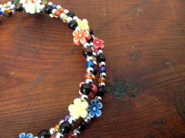 Colorful Flowers Beaded Mood Jewelry Bracelet Wire Coils Around Wrist 3 Times image 3