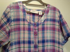 Comfort Choice Size Medium Plaid Long Cotton Dress Front Pockets Button Closure image 2