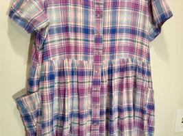 Comfort Choice Size Medium Plaid Long Cotton Dress Front Pockets Button Closure image 3