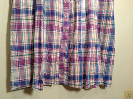 Comfort Choice Size Medium Plaid Long Cotton Dress Front Pockets Button Closure image 4