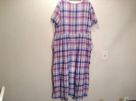 Comfort Choice Size Medium Plaid Long Cotton Dress Front Pockets Button Closure image 5