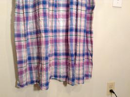Comfort Choice Size Medium Plaid Long Cotton Dress Front Pockets Button Closure image 7