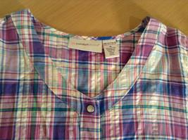 Comfort Choice Size Medium Plaid Long Cotton Dress Front Pockets Button Closure image 8