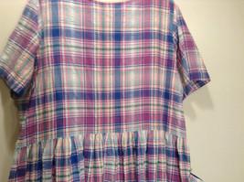 Comfort Choice Size Medium Plaid Long Cotton Dress Front Pockets Button Closure image 6