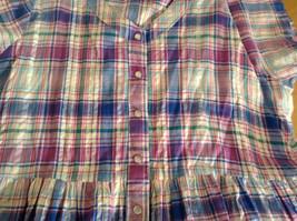 Comfort Choice Size Medium Plaid Long Cotton Dress Front Pockets Button Closure image 9