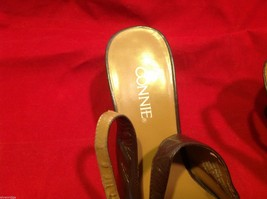 Connie Brown size 7 sling back low heels in shiny brown  womens shoes image 4