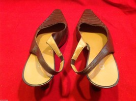 Connie Brown size 7 sling back low heels in shiny brown  womens shoes image 9