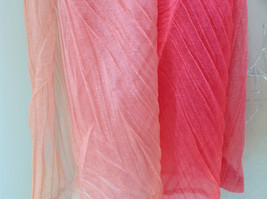 Coral Tan Watercolor Scrunched Pleated Style Fashion Scarf image 4