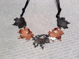 Copper Vintage Pewter Necklace Earring Set Handcrafted Lobster Clasp Maple Leaf image 5
