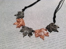 Copper Vintage Pewter Necklace Earring Set Handcrafted Lobster Clasp Maple Leaf image 4