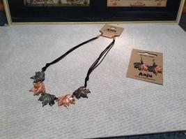 Copper Vintage Pewter Necklace Earring Set Handcrafted Lobster Clasp Maple Leaf image 3