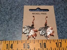 Copper Vintage Pewter Necklace Earring Set Handcrafted Lobster Clasp Maple Leaf image 7