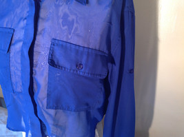 Cotton Express Pretty Blue Button Down Blouse 2 Front Pockets Long Sleeve Size M image 2