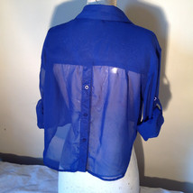 Cotton Express Pretty Blue Button Down Blouse 2 Front Pockets Long Sleeve Size M image 6