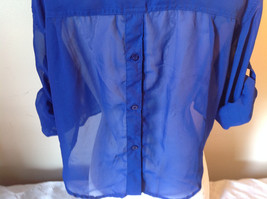 Cotton Express Pretty Blue Button Down Blouse 2 Front Pockets Long Sleeve Size M image 7