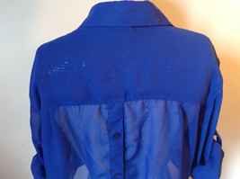 Cotton Express Pretty Blue Button Down Blouse 2 Front Pockets Long Sleeve Size M image 8
